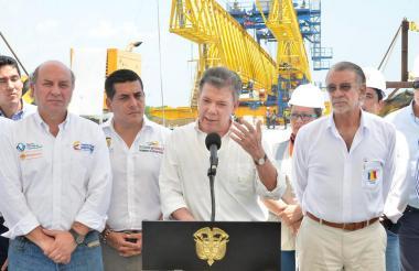 El presidente Santos durante su visita a Cartagena.