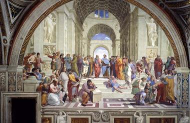Fresco 'La escuela de Atenas' pintado por Rafael en las Estancias Vaticanas.