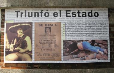 Artículos de prensa e imágenes del extinto capo del narcotráfico.