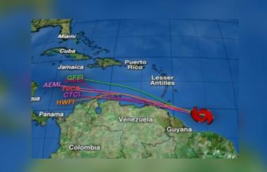 Mapa de posibles trayectorias suministrada por el SAT.