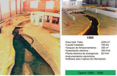 Laboratorio de ensayos hidráulicos que funcionaba en el campamento de Las Flores.