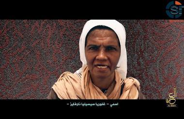 Pantallazo del video difundido por el grupo terrorista y en el que aparece Gloria Cecilia Narváez.