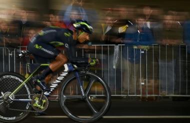 Nairo Quintana durante el recorrido de este domingo en el Tour.