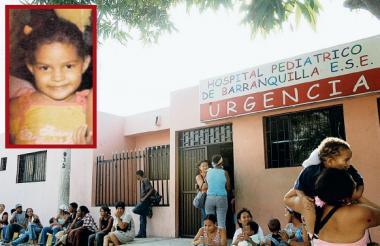 Fachada del antiguo hospital Pediatrico de Barranquilla. En la parte  izquierda la menor fallecida Pamela Palencia.