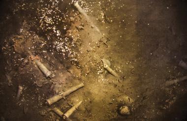 Imagen submarina de los cañones en bronce del Galeón San José.