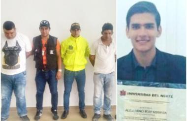Los dos capturados fueron mostrados por la Policía. En el recuadro, la foto de Alejandro Ruiz Noriega, aesesinado el 15 de junio pasado.