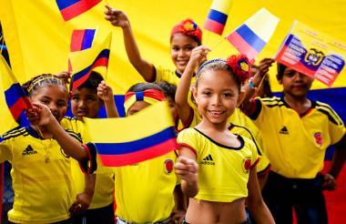 Estudiantes de básica primaria durante su acto cívico.