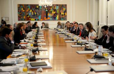 El Consejo de Ministros que encabeza el Presidente Santos este miércoles en la Casa de Nariño.