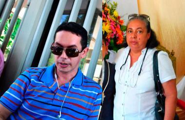 Oswaldo Pallares en las instalaciones de Medicina Legal. En la otra imagen, su madre María del Carmen Céspedes.