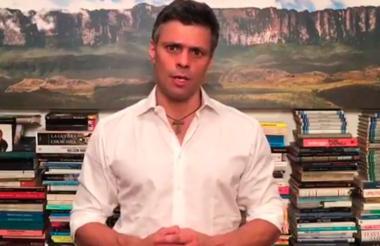 Leopoldo López en la imagen captada del video de este miércoles.
