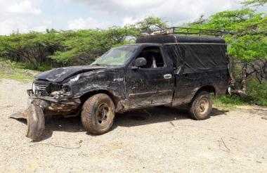 Así quedó uno de los vehículos tras el accidente.