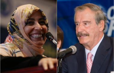 Tawakkol Karman y Vicente Fox.