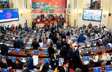 Aspecto de una sesión plenaria en el Senado de la República, en Bogotá.