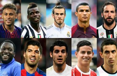 Arriba, de izquierda a derecha: Neymar, Paul Pogba, Gareth Bale, Cristiano Ronaldo y Gonzalo Higuaín. Abajo, de izquierda a derecha: Lukaku, Luis Suárez, Álvaro Morata, James Rodríguez y Ángel Dí María.