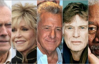 Clin Eastwood, Jane Fonda, Dustin Huffman, Robert Reford, Morgan Freeman.