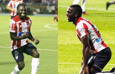 Toloza, que ahora juega en el Dim, lamentando una definición errada, y Chará festejando un gol.
