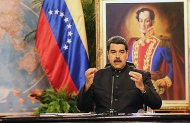 El presidente Maduro en su alocución de este martes.