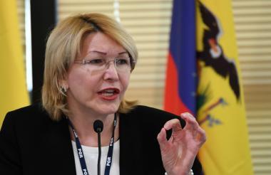 Luisa Ortega cuando intervenía en la cumbre de fiscales del Mercosur, en Brasil.
