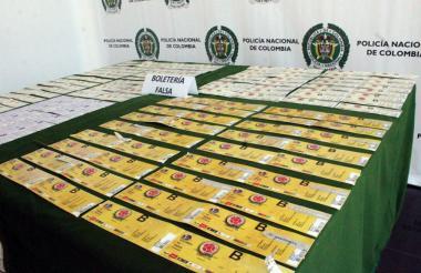 Boletería decomisada por la Policía Nacional.