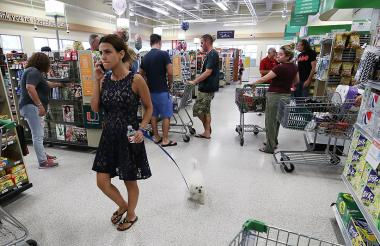Ciudadanos de Florida se aprovisionan en un supermercado después de la alerta lanzada por el paso del huracán Irma.