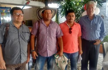 Ramón Barrios, Fray Monterrosa, Luis Miranda y César Otero, voceros de los productores de maíz.