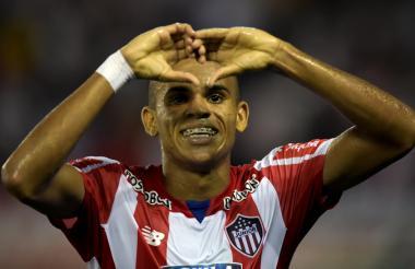 Luis Díaz celebra su primer tanto con la camiseta de Junior.