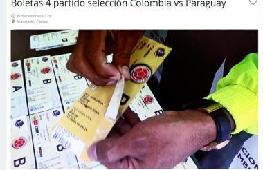 Boletas para el partido son ofrecidas por páginas web de ventas libres.