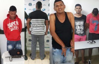 Algunos de los capturados. De izquierda a derecha: Andrés Felipe Ruiz Roger, el adolescente de 17 años, Jeison Junior Acosta Suárez, Antony De Jesús Rodríguez Martínez y Fabián Andrés Salazar Martínez.