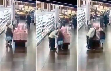 Momentos en que el presunto abusador se acerca a la menor que estaba sola en el supermercado.