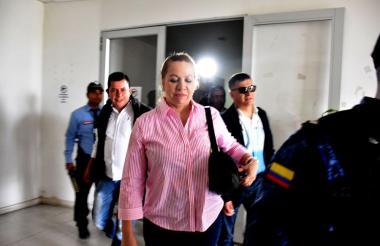 Silvia Gette, a la salida de una audiencia por el caso del millón de dólares.