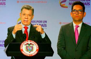 El presidente de Colombia junto al ministro de Agricultura.