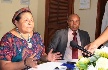 Rigoberta Menchú durante la rueda de prensa.