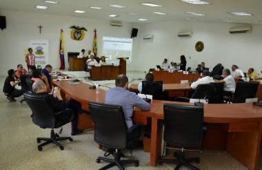 Un aspecto de la caldeada sesión del Concejo de Barranquilla realizada en la mañana de ayer.