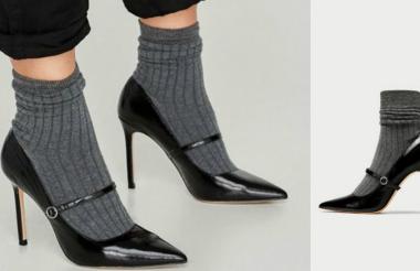 Así lucen los tacones con medias agregadas que vuelven al mundo de la moda.