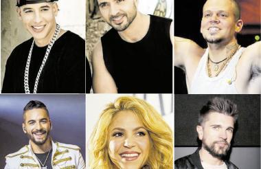 Los cantantes Daddy Yankee y Luis Fonsi, autores de la exitosa canción 'Despacito'. Residente - René Pérez. Maluma, Shakira y Juanes.