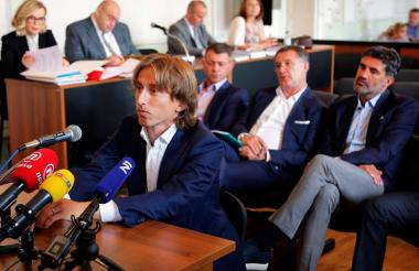Luka Modrid durante una audiencia ante la Fiscalía.