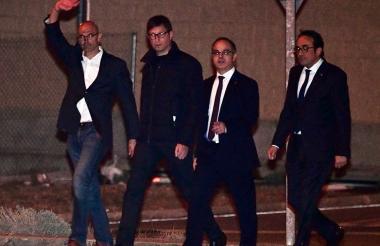 (De izq. a der.) Raúl Romeva, Carles Mundo, Jordi Turull, y Josep Rull, exmiembros de la Generalitat catalana, abandonan la prisión de Estremera.