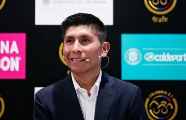 Nairo Quintana en la presentación de la competencia Colombia, Oro y Paz.