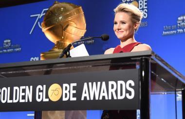 Actriz Kristen Bell durante las nominaciones a los Globos de Oro.