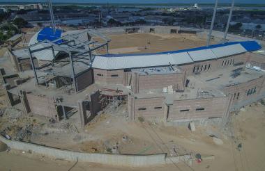 Panorámica aérea muestra avance en obras del estadio Edgar Rentería.