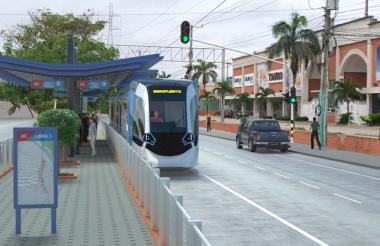 Render de una de las estaciones del Metro Ligero, a la altura de la carrera 2 de Barranquilla.