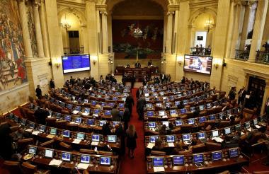 Aspectos de la plenaria de la Cámara.