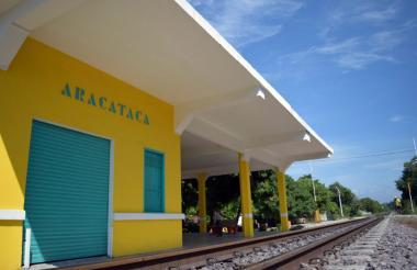 Fachada de la estación de tren en Aracataca.