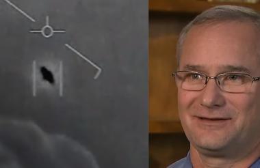 Captura del video donde se registró el supuesto ovni y Fravor, piloto que vio el ovni.