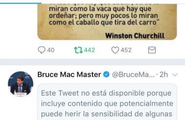 Publicación de Twitter del presidente de la Andi, Bruce Mac Master.
