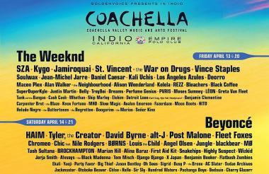 Cartel oficial del festival Coachella 2018.