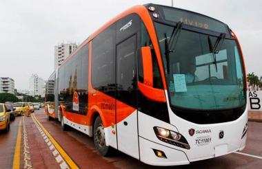 Un bus de Transcaribe.