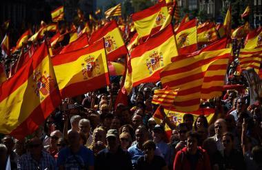 Manifestaciones en Barcelona convocadas por la Sociedad Civil Catalana en octubre de 2017, los ciudadanos salieron a las calles para apoyar la unidad de España.