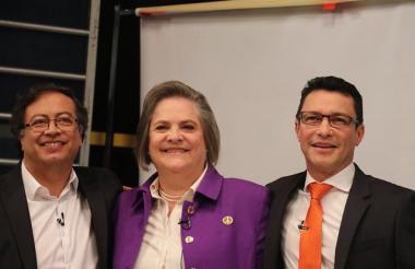 Gustavo Petro, Clara López y Carlos Caicedo.