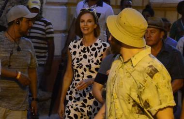 La actriz sudafricana durante el rodaje en Cartagena.